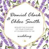 Wedding invitation with lavender. elegant vector illustration. Wedding invitation with lavender.. elegant vector illustration royalty free illustration