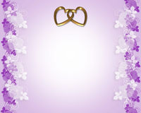Wedding invitation Lavender  gold hearts Stock Image
