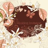 Wedding invitation with lemon flowers in pastel pink and beige c Stock Photography