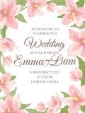 Wedding invitation magnolia sakura border frame Stock Images