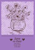 Wedding invitation with mason jar and pansy flowers Stock Image