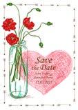 Wedding invitation with mason jar and poppy flowers Royalty Free Stock Photography