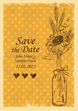 Wedding invitation with mason jar and sunflower Royalty Free Stock Photography