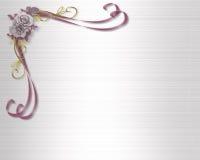 Wedding invitation mauve roses royalty free stock images
