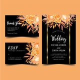 Wedding invitation modern orange and gold, watercolor floral vector illustration