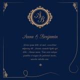 Wedding invitation with monogram. Invitation card with monogram on dark blue background. Wedding invitation, Save The Date. Vintage invitation template. Vector Stock Images
