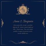 Wedding invitation with monogram. Invitation card with monogram on dark blue background. Wedding invitation, Save The Date. Vintage invitation template. Vector Royalty Free Stock Images