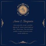 Wedding invitation with monogram Stock Images