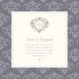 Wedding invitation with monogram. Invitation card with monogram and vintage background. Wedding invitation, Save The Date. Vintage invitation template Stock Photos