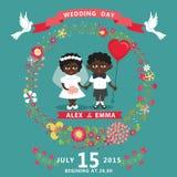 Wedding invitation with mulatto baby Bride,groom,floral wreath Stock Photo