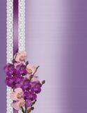 Wedding invitation Orchids on lavender satin stock image