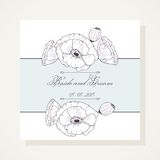 Wedding invitation with outline poppies Royalty Free Stock Images