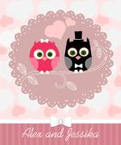 Wedding invitation with owl Stock Photo