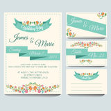 Wedding Invitation Pack. Invitation for wedding or any celebration. Additional file in eps 10 file, with no gradient meshes, blends, opacity, stroke path stock illustration