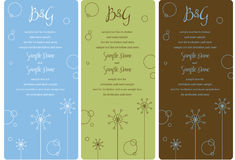 Wedding Invitation Panels. Set of invitation panels good for showers, parties, weddings all occasions Royalty Free Stock Photo