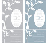 Wedding Invitation Panels. Leaves on a tree - Wedding Invitation Panels and Reply cards - use for weddings, parties, showers Vector Illustration