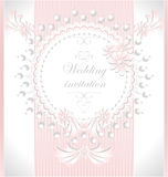 Wedding invitation with pearls flowers in pink col. Wedding invitation or congratulation with pearls flowers in pink color Royalty Free Stock Photography