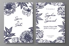 Wedding invitation with peonies. Cards templates for save the date, thank you card, wedding invites, menu, flyer, background, gree. Ting cards, postcards Royalty Free Stock Photos