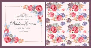 Wedding invitation with peony roses and succulents Stock Photo