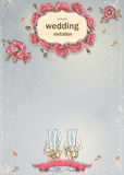Wedding invitation with a picture of wedding glasses Stock Image