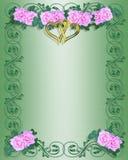 Wedding Invitation Pink Roses Royalty Free Stock Photography