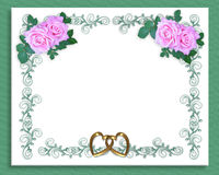 Wedding Invitation Pink roses Stock Photo