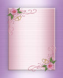 Wedding invitation pink roses on satin stock photography