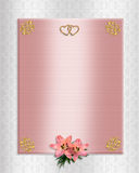 Wedding invitation pink satin lilies. Image and illustration composition template for wedding invitation, stationery,  background, border or frame on pink satin Stock Photo