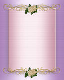 Wedding invitation Pink Satin and roses Royalty Free Stock Photography