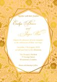 Wedding Invitation, poppy floral invite card Design with Geometrical art lines, gold foil border vector illustration