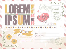 Wedding invitation  postcard background vector template Royalty Free Stock Photography