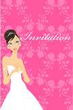 Wedding invitation with preety bride Stock Photography