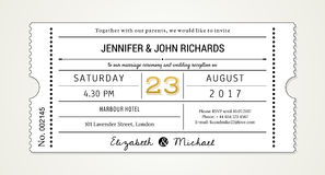 Wedding Invitation pt.1 Template - Invite (with used fonts listed in file). Wedding Invitation Ticket Style Template (Part 1 of 3 Royalty Free Stock Image