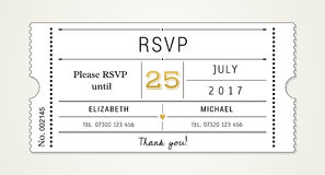 Wedding Invitation pt.2 Template - RSVP, Response Card (with used fonts listed in file). Wedding Invitation Ticket Style Template (Part 2 of 3 Royalty Free Stock Images