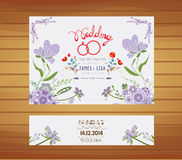Wedding invitation with purple floral design template Royalty Free Stock Photography
