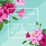 Wedding Invitation with Purple Hibiscus Flowers. Save the Date Floral Card for Greetings, Anniversary, Birthday. Botanical Design. Vector illustration Royalty Free Stock Photos