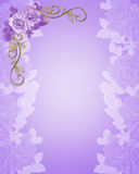 Wedding Invitation purple Roses Stock Photos