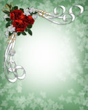 Wedding invitation Red Roses Border Stock Photography