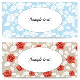 Wedding invitation with red and white roses. EPS,JPG. Stock Photos