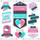 Wedding invitation retro set of design elements Stock Photo