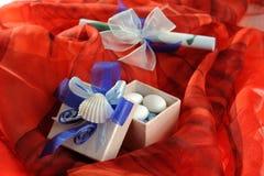 Wedding invitation with ribbon Stock Photos