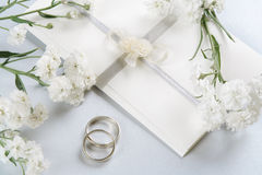 Wedding invitation. Romantic background with delicate Perry's White flowers Stock Image