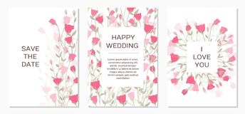 Romantic tender floral design for wedding invitation royalty free illustration