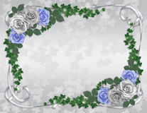 Blue roses Wedding invitation template. Image and illustration composition Blue and white roses and ivy garland design element for Valentine , wedding invitation stock illustration