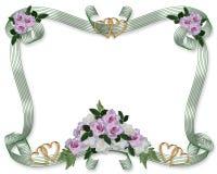 Wedding invitation roses border Stock Photos