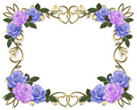 Wedding Invitation Roses border. Blue, lavender roses Image and illustration composition design template for Valentine, birthday or wedding invitation vector illustration
