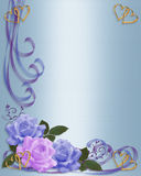 Wedding Invitation Roses Border Blue And Lavender Stock Photography