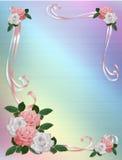 Wedding invitation Roses Border pink white  Stock Photos