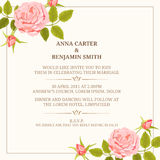 Wedding invitation with roses. Invitation card with roses. Wedding invitation, Save The Date, invitation template. Vector illustration Royalty Free Stock Images