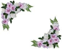 Wedding Invitation Roses Corner design. Image and illustration composition roses and gardenias corner design elements for Valentine or wedding invitation on stock illustration